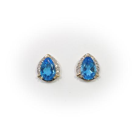 14k Yellow Gold Pear Shape Blue Topaz and Diamond Earrings
