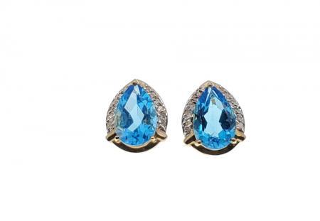 14k Yellow Gold Pear Shape Blue Topaz and Diamond Earrings