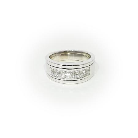 14K White Gold Mens Diamond Band