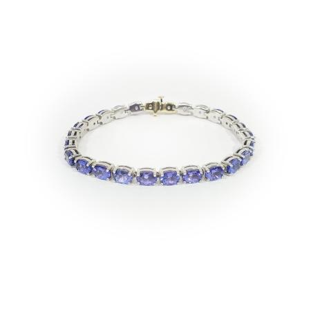 14K and Sterling Silver Tanzanite Bracelet