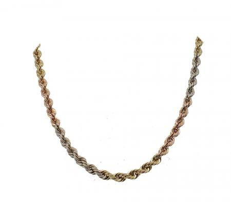 14K Tri-Gold Rope Chain