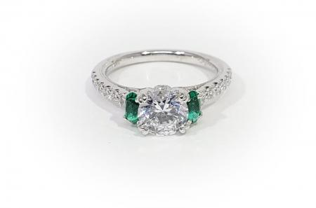 14K White Gold Diamond and Emerald Engagement Ring