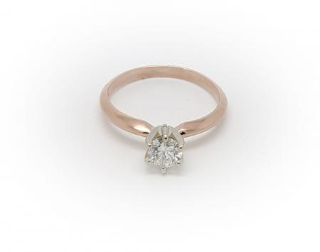 14K Rose Gold Diamond Solitaire Ring
