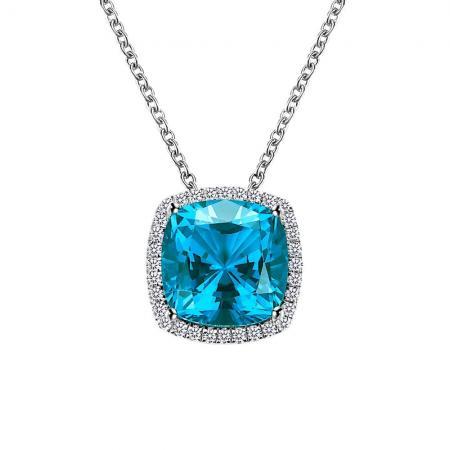 Lafonn Simulated Diamond & Paraiba Tourmaline Necklace PLT