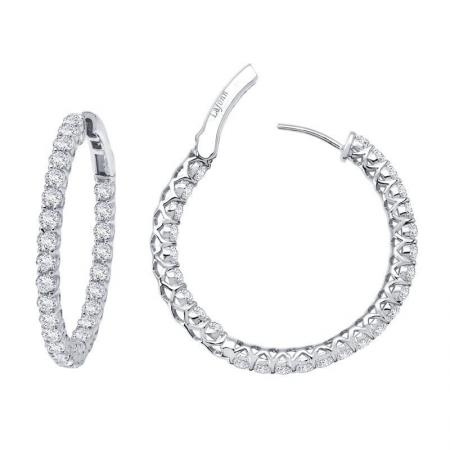Lafonn 2.70ctw Simulated Diamond Insdie Out Hoops PLT