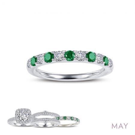 Lafonn Simulated Diamond & Emerald Ring PLT