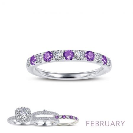 Lafonn Simulated Amethyst & Diamond Ring PLT