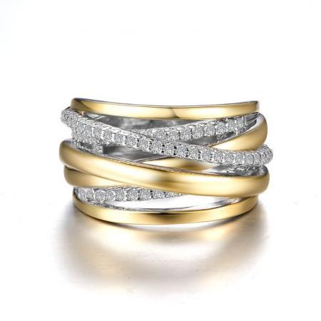 Lafonn .61ctw Simulated Diamond Criss Cros Two Tone Ring