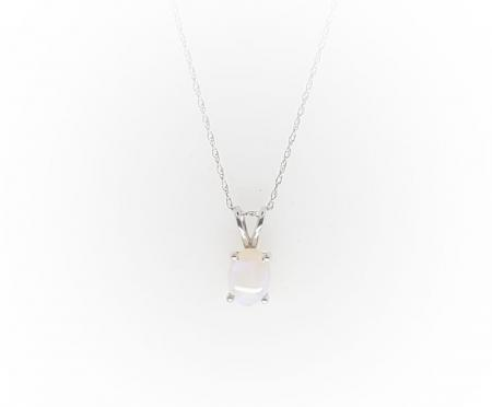 14k White Gold Opal Pendant