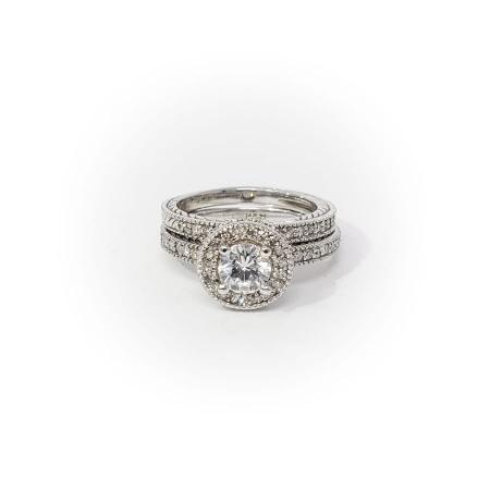 Engraved Halo and Diamond Wedding Set