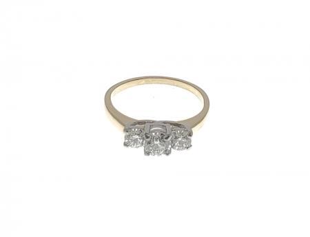 14K Yellow Gold Diamond 3 Stone Ring