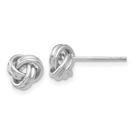 14K White Gold Love Knots Earrings