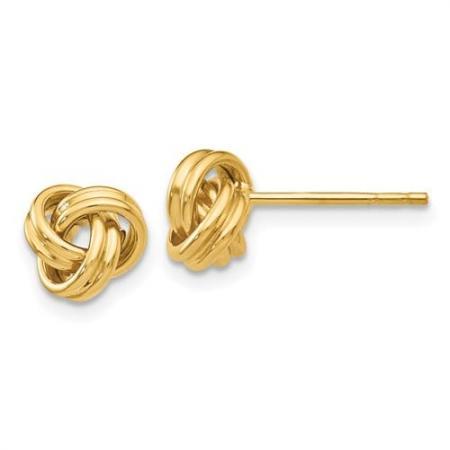 14K Yellow Gold Love Knot Earrings