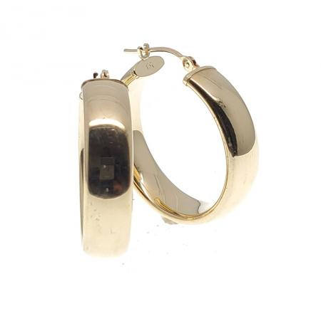 14K Yellow Gold 6.00mm Wide Hoops