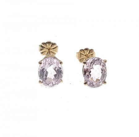 14K Yellow Gold Kunzite Earrings
