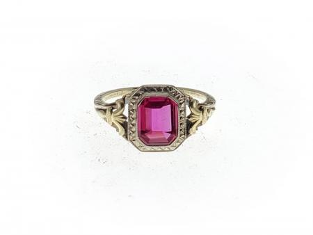 14k yellow gold antique emerald cut synthetic ruby ring