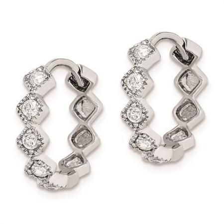 Sterling Silver Rhodium-plated CZ Hinged Hoop Earrings