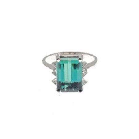 14K Diamond and Green Quartz Ring
