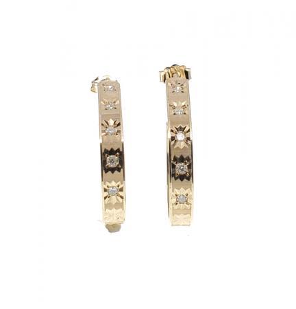 14k YG diamond hoop earrings .20ctw