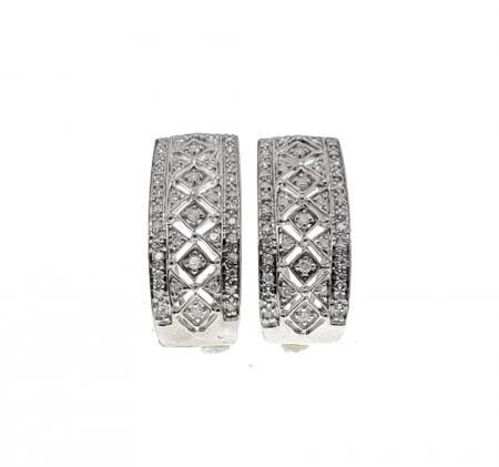 14k white gold spring back diamond earrings