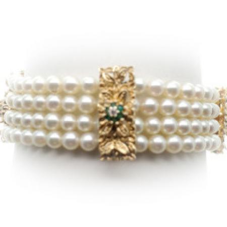 14kYG Pearl & Gemstone bracelet 7.5''