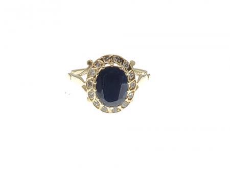 10k yellow gold Sapphire/diamond ring