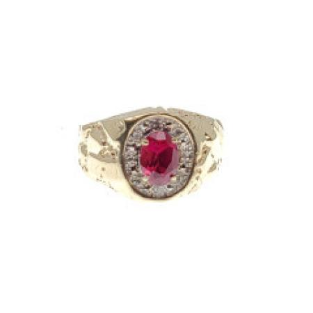 10k yellow gold nugget garnet ring