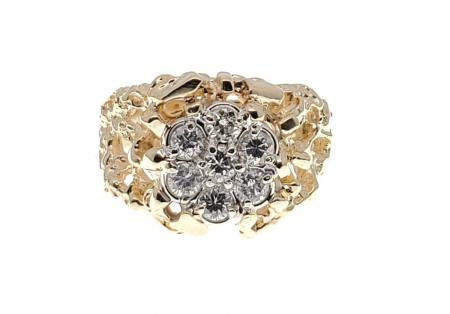 14k yellow gold nugget ring with a cluster of diamonds