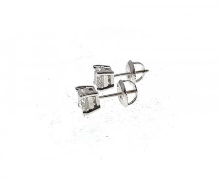 14k white gold princess cut diamond earrings