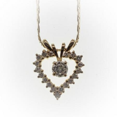14k yellow fold diamond heart pendant (2)