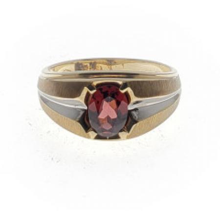 14k two tone oval garnet ring