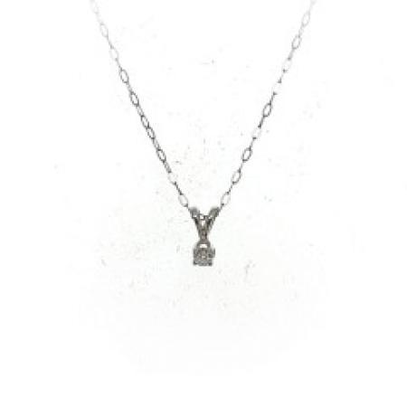14k white gold diamond pendant 0.12ct