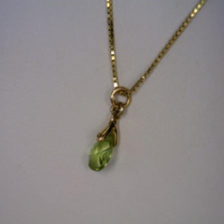 Peridot & 14kt Yellow Gold Box Chain 16''