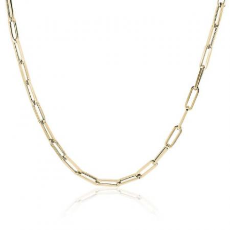 Paperclip Necklace 16'' Sterling Silver & 18kt Gold Plate
