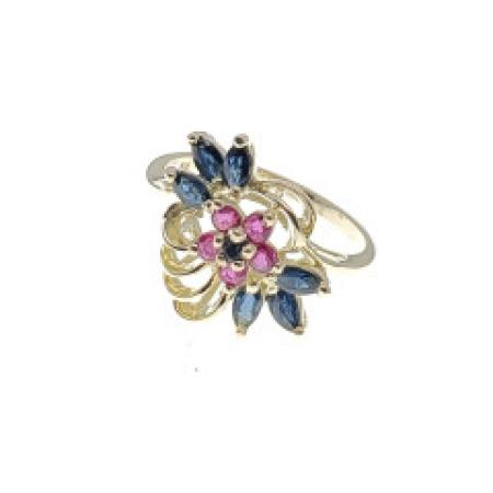 14KYG Sapphire and Ruby Fashion Ring