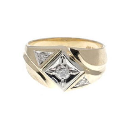 14K two tone Mens Diamond Ring