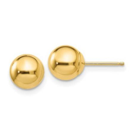 14K Yellow Gold Ball Post Earrings
