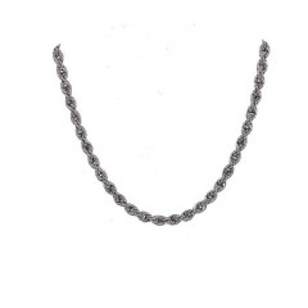 14K White Gold 18'' Rope Chain