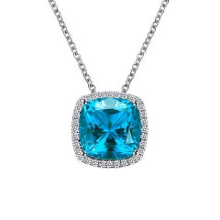 Lafonn Simulated Diamond & Paraiba Tourmaline Necklace PLT