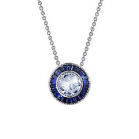 Lafonn Art Deco Simulated Diamond & Sapphire Necklace