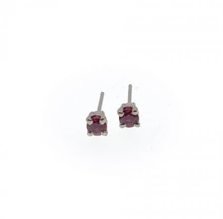 14k White Gold Ruby Earrings