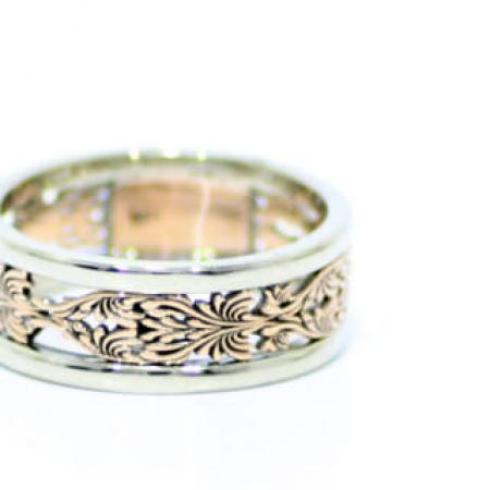 14k white and rose gold carved wedding band (1)