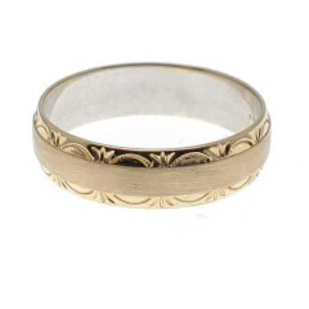 14k Yellow Gold Carved Wedding Band