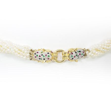 14k Yellow Gold Panther clasp Pearl Necklace