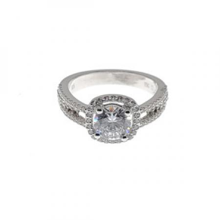 Diamond Halo with 3 Band Engagement Ring