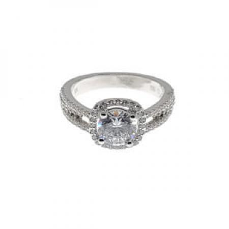 Diamond halo with 3 band engagement ring2 (2)