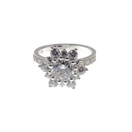 Cluster set Diamond Engagement Ring