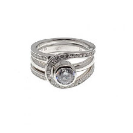 Bezel Set Engagement Ring with Channel set Diamonds