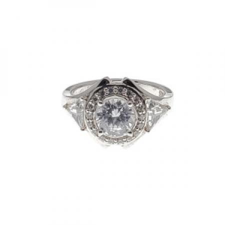 Round Halo and Trillion Diamond Engagement Ring