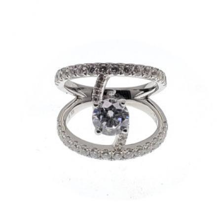 Split Shank with Swirl Diamond Engagement Ring